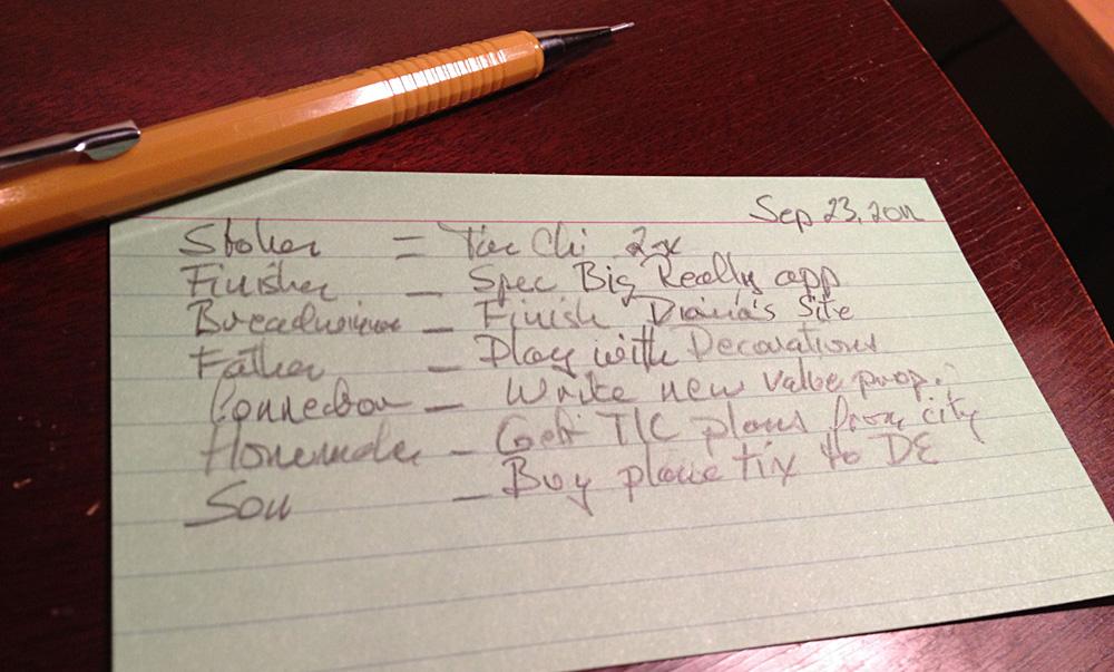 David Delp's Week's Plan